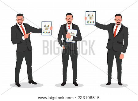 Business man shows finance report, business result. Man in suit hold clipboard in hand - stock vector.