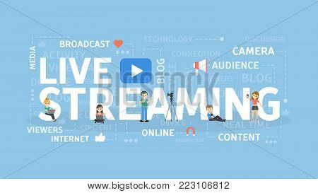 Live streaming concept illustration. Broadcast on internet.