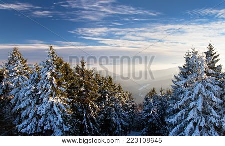 Wintry view from Javorniky mountains, Slovakia, woodland and beautiful sky