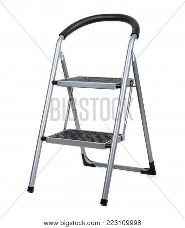 Two Steps Metal Ladder Isolated On White Background.
