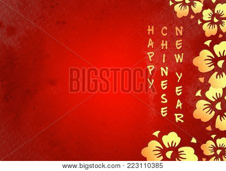Border with golden cherry flowers and congratulation for Chinese New Year on red watercolor background