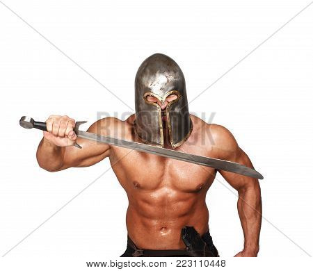 Image of shirtless angry warrior with sword in his hands