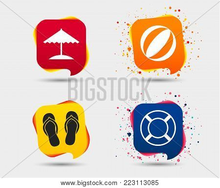 Beach holidays icons. Ball, umbrella and flip-flops sandals signs. Lifebuoy symbol. Speech bubbles or chat symbols. Colored elements. Vector