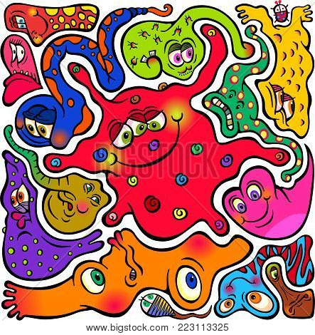 Hand drawn doodle cartoon germs and microbes that mold around each other.