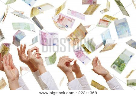 Many Hands Reaching For Euro Money