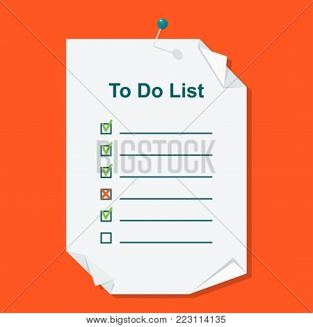 To do list concept. Daily routine and planning, time management flat vector cartoon illustration. Objects isolated on background.