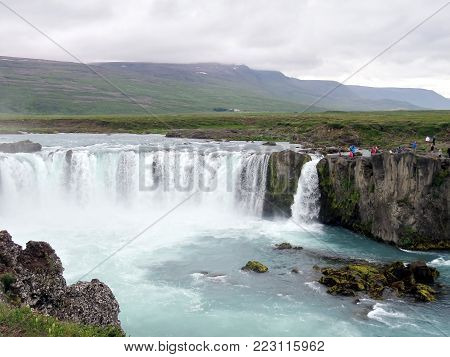 Godafoss waterfall on Skjalfandafljot river in Iceland, July 10, 2017