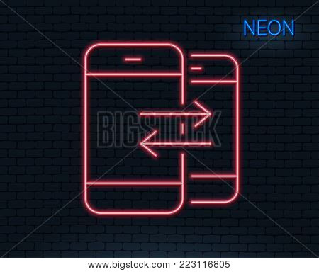 Neon light. Phone Communication line icon. Incoming and Outgoing call sign. Conversation or SMS symbol. Glowing graphic design. Brick wall. Vector