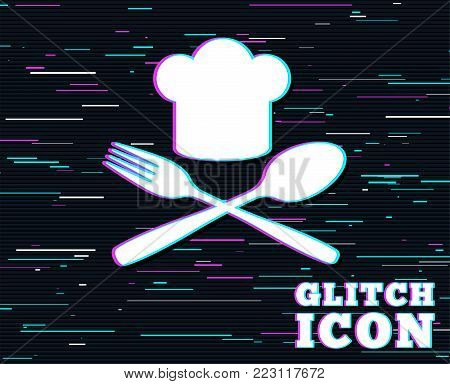 Glitch effect. Chef hat sign icon. Cooking symbol. Cooks hat with fork and spoon. Background with colored lines. Vector