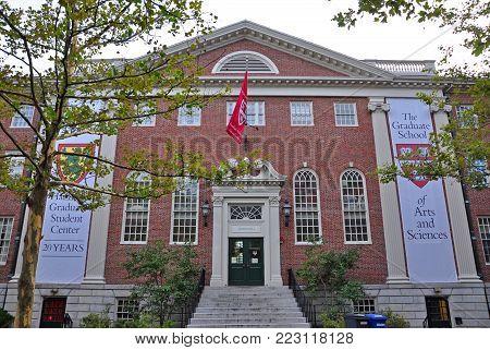 BOSTON - AUG. 13, 2011: Lehman Hall at Harvard University, Cambridge, Boston, Massachusetts, USA.