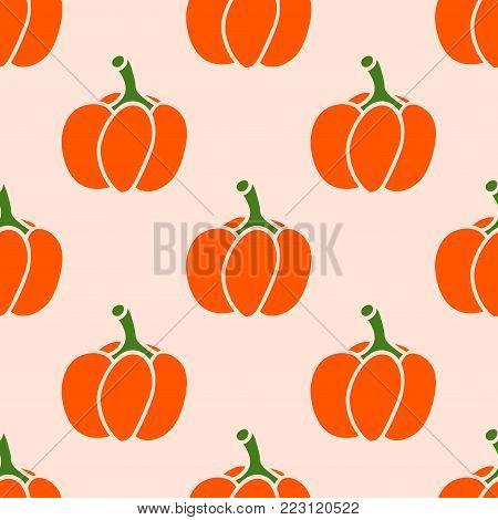 Cute background with bright orange pumpkin on pastel pink. Halloween seamless pattern. Vector.