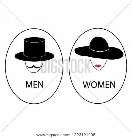 Silhouette head men and women on white background. WC icon. Icon public toilette and bathroom for hygiene. Sign restroom women and men. Template for poster,sign. Flat vector image Vector illustration.