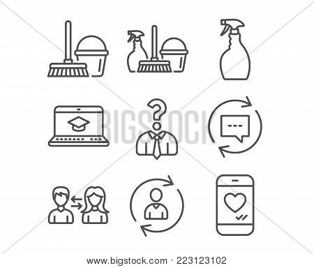 Set of Spray, Update comments and Household service icons. Website education, Hiring employees and Bucket with mop signs. Person info, People communication and Love chat symbols. Vector