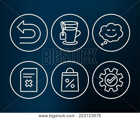 Set of Tea, Undo and Speech bubble icons. Shopping bag, Delete file and Service signs. Glass mug, Left turn, Comic chat. Supermarket discounts, Remove document, Cogwheel gear.  Editable stroke. Vector