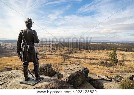 Little Round Top view of Devil's Den in Gettysburg PA, USA