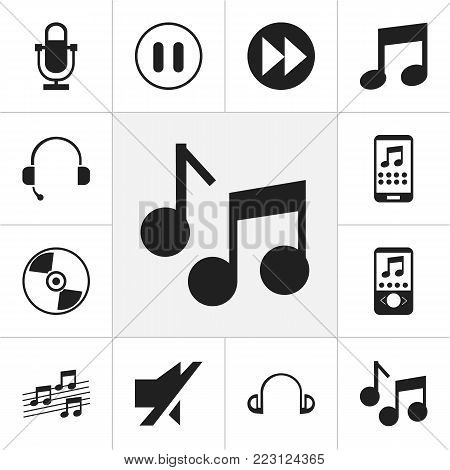 Set of 12 editable song icons. Includes symbols such as smartphone, musical sign, audio note and more. Can be used for web, mobile, UI and infographic design.