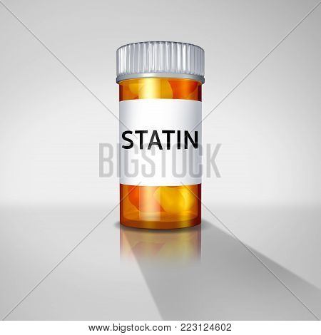 Statin drugs and statins medication concept or prescription pharmaceutical medication drugs prescribed by a doctor to help with cardiovascular health as a 3D illustration.