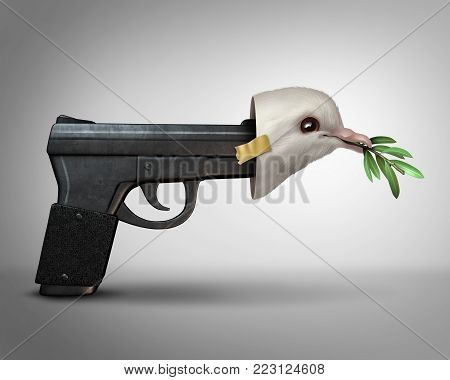 Pretending to be nice concept as a gun wearing a peace dove mask as a metaphor for a danger masquarading as peaceful with 3D illustration elements.