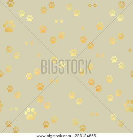Dog Gold paw prints. Seamless pattern of animal gold footprints. Dog paw print seamless pattern