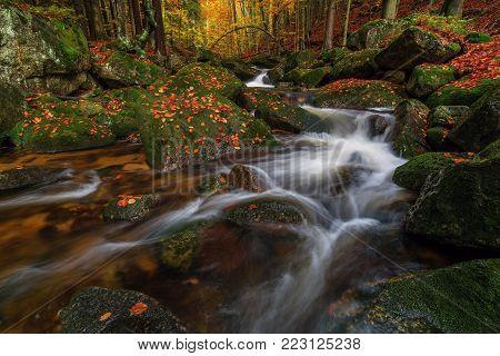 Creek Jedlova in the Jizera Mountains, Czech Republik