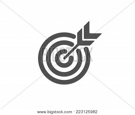 Target simple icon. Marketing targeting strategy symbol. Aim with arrows sign. Quality design elements. Classic style. Vector
