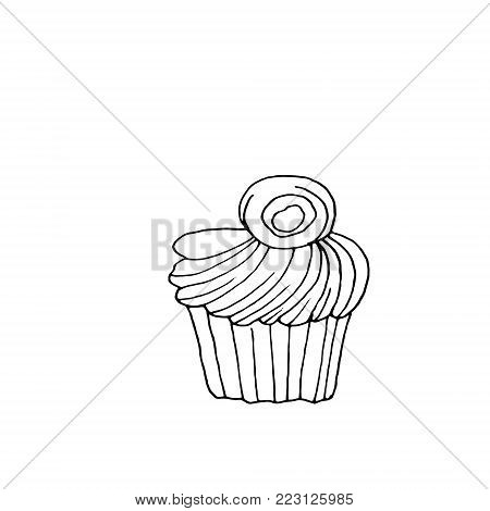 Cupcake dessert with creamy top. Vector illustration on white