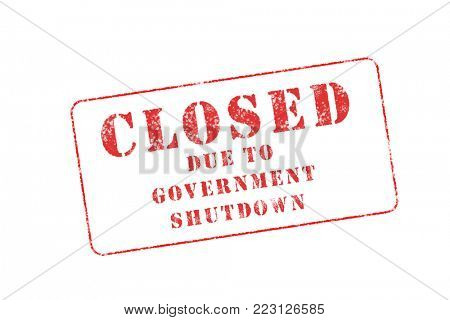 A rubber stamp style image with the message Closed Due to Government Shutdown, on white.