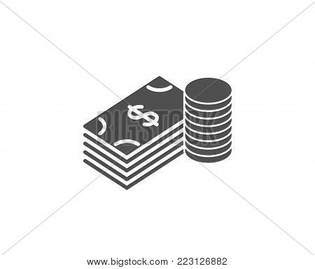 Cash money simple icon. Banking currency sign. Dollar or USD symbol. Quality design elements. Classic style. Vector