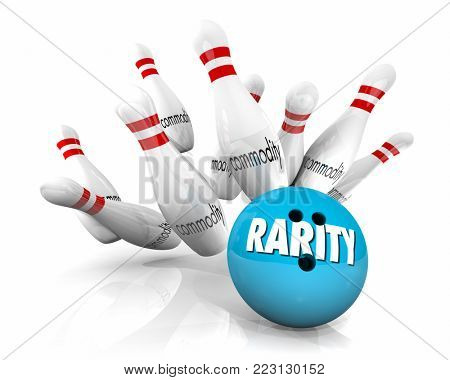 Rarity Vs Commodity Bowling Ball Pins Strike Rare 3d Illustration