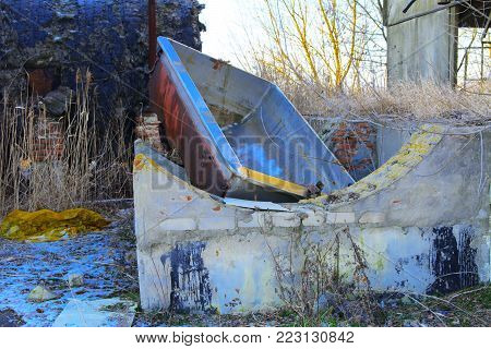 Premises of a destroyed and plundered milk production plant. The raiders seized the factory. Vandalism. Ukraine, January 2018.