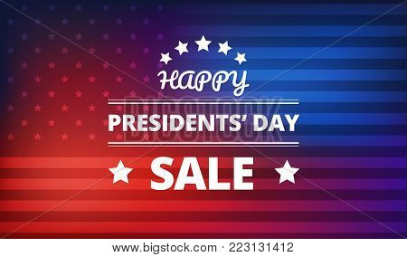 Presidents Day Sale banner vector colorful background - red and blue colors - USA national holidays
