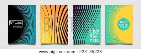 Minimalistic notebook cover design. Vector halftone lines for flyer, brochure, banner, placard. Future colorful Poster template. Modern minimalist pattern.