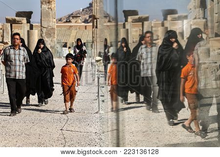 Iran, Shiraz, Persepolis - September 18, 2016: tourists and locals visiting the old ruins of the ancient city. Ancient Persia.