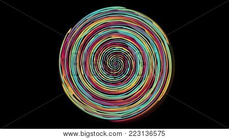 Colorful fusion spectrum circle on black background. Flame spiral series.