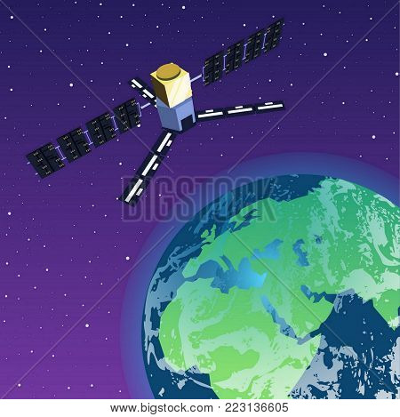 GPS Satellite Orbiting Earth in Space, Space Station on Earth`s orbit