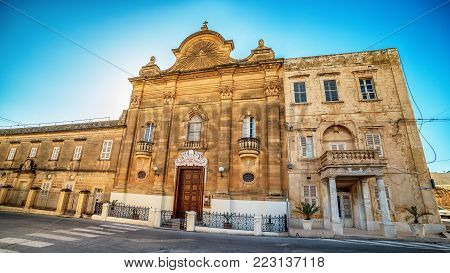 Victoria, Gozo island, Malta: facade of the Church of Our Lady of Pompei