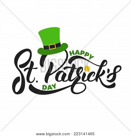Saint Patrick's Day. Lettering St. Patrick's with gold coin and leprechaun hat. St. Patricks Day card.