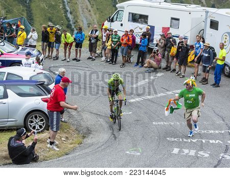 Col du Glandon, France - July 24, 2015: The Irish cyclist Dan Martin of Cannondale-Garmin Team,climbing the road to Col du Glandon in Alps, during the stage 19 of Le Tour de France 2015.