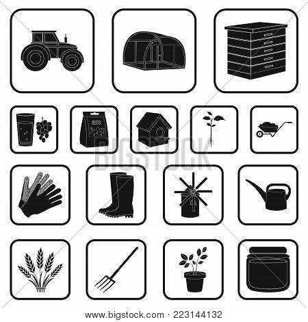 Farm and gardening black icons in set collection for design. Farm and equipment vector symbol stock  illustration.