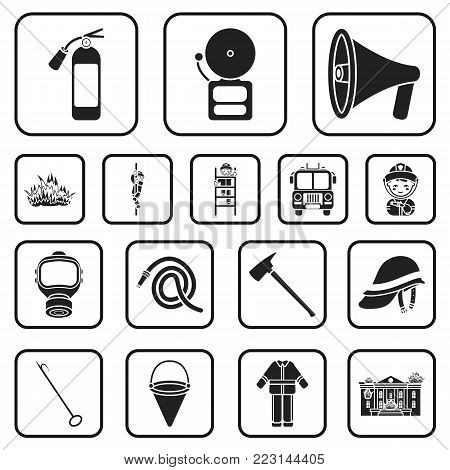 Fire Department black icons in set collection for design. Firefighters and equipment vector symbol stock  illustration.