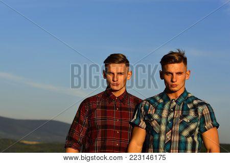 Men Twins In Sunset Or Sunrise, Friendship.