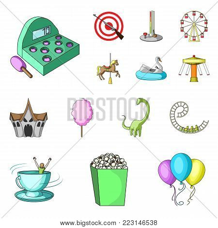 Amusement park cartoon icons in set collection for design. Equipment and attractions vector symbol stock  illustration.