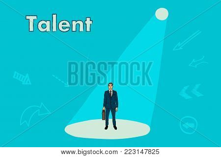 Business recruitment . Search for a talented worker. businessman under the beam of a searchlight