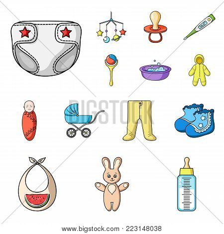 Birth of a baby cartoon icons in set collection for design. Newborn and accessories vector symbol stock  illustration.