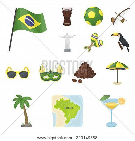 Country Brazil cartoon icons in set collection for design. Travel and attractions Brazil vector symbol stock  illustration.