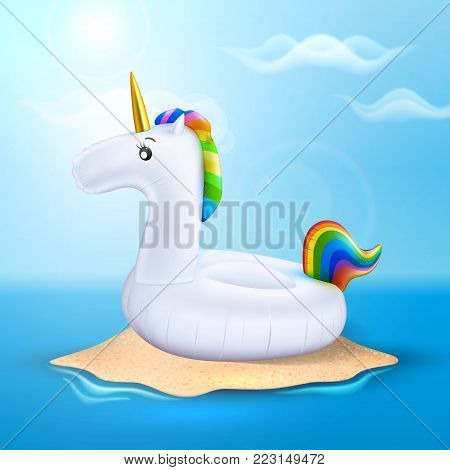 Vector realistic 3d unicorn shape rainbow hair inflatable swimming pool ring, tube, float. Summer vacation holiday, traveling, beach and ocean . Illustration on sea island blue cloud sky background