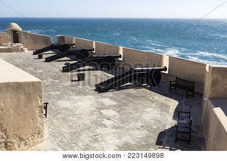 CASCAIS, PORTUGAL - October 3, 2017: Fort erected during the Portuguese Restoration War with Spain originaly equipped with four pieces of artillery (cannons), near Cascais, Portugal
