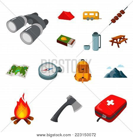 Rest in the camping cartoon icons in set collection for design. Camping and equipment vector symbol stock  illustration.