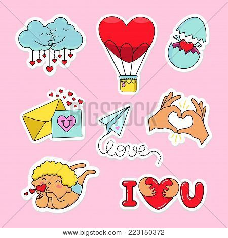 Fashion patch badges with heart, love, candy, egg, ballon,, letter, hand, clouds, heart ballon, angel, i love you and other. Very large set of girlish stickers to the day of lovers, patches in cartoon