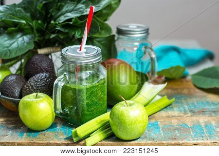 Fresh Green Vegetables And Fruits, Ingredients For Dietary Healthy Green Detox Smoothie Or Salad
